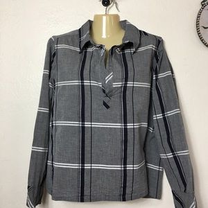 Dylan Plaid Cotton Pullover Top